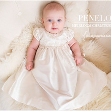 2019 Summer Baby Girl White Christening Gown 1st Birthday Party Newborn Baby Girl Wedding Princess Dress with Hat Baptism