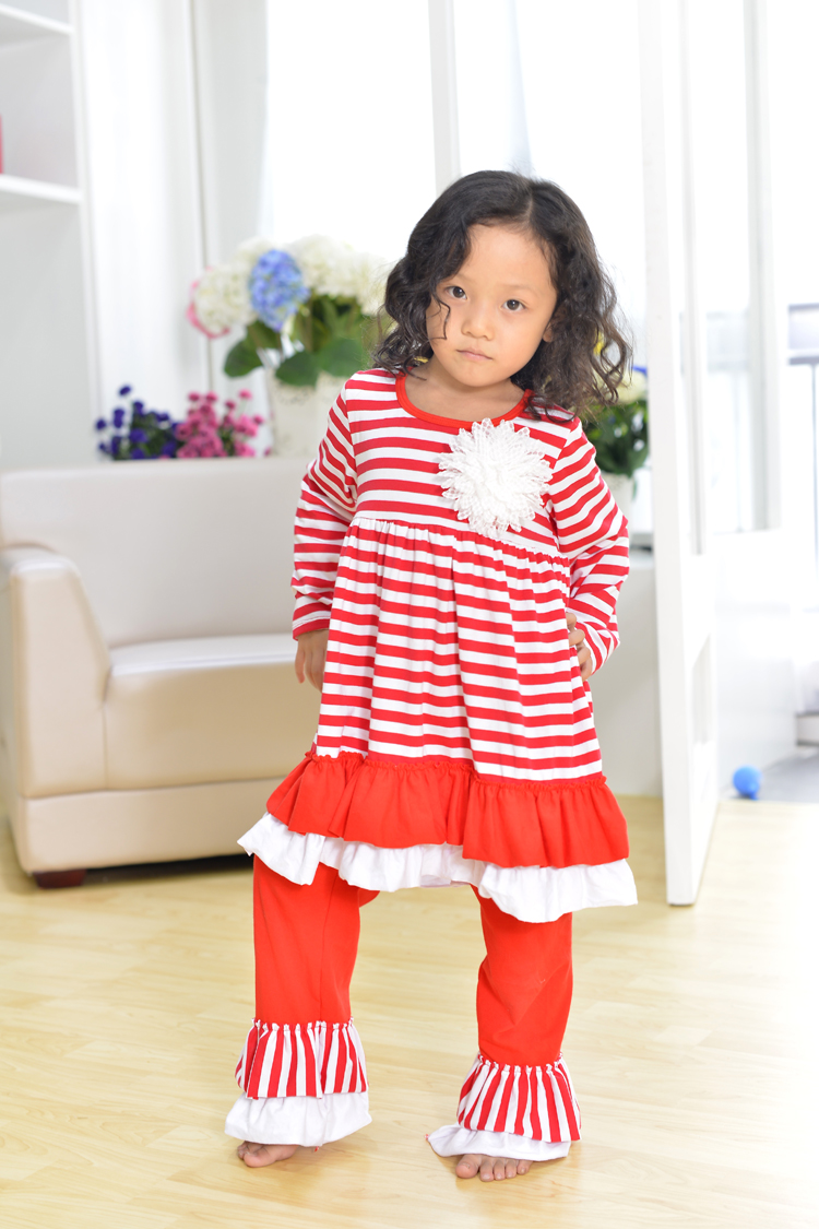 christmas clothes girls xmas Outfit girl boutique ruffle pants long ...
