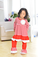 christmas clothes girls xmas Outfit girl boutique ruffle pants long sleeve baby girl christmas outfits red white stripe