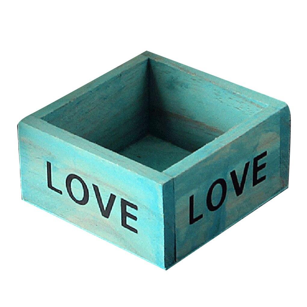 2 Color Wooden Square Storage Box Bonsai Boxes for Home Office Decorations 9.8*9.8*5cm