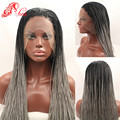 1b/Grey Ombre Braided Lace Front Wigs Long Micro Braided Wigs For Black Women Hand Made African American Braided Wigs Ombre