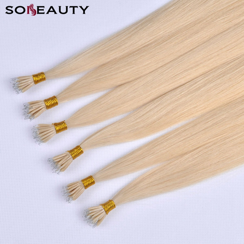 Sobeauty  Straight Hair Micro Bead Hair Extensions Nano Hair Extensions Blonde Remy Human Hair Extensions 613 Blonde  Color