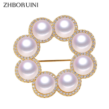 ZHBORUINI Fine Jewelry Natural Freshwater Pearl Brooch Simple Round Many Pearls Pins Women Dropshipping