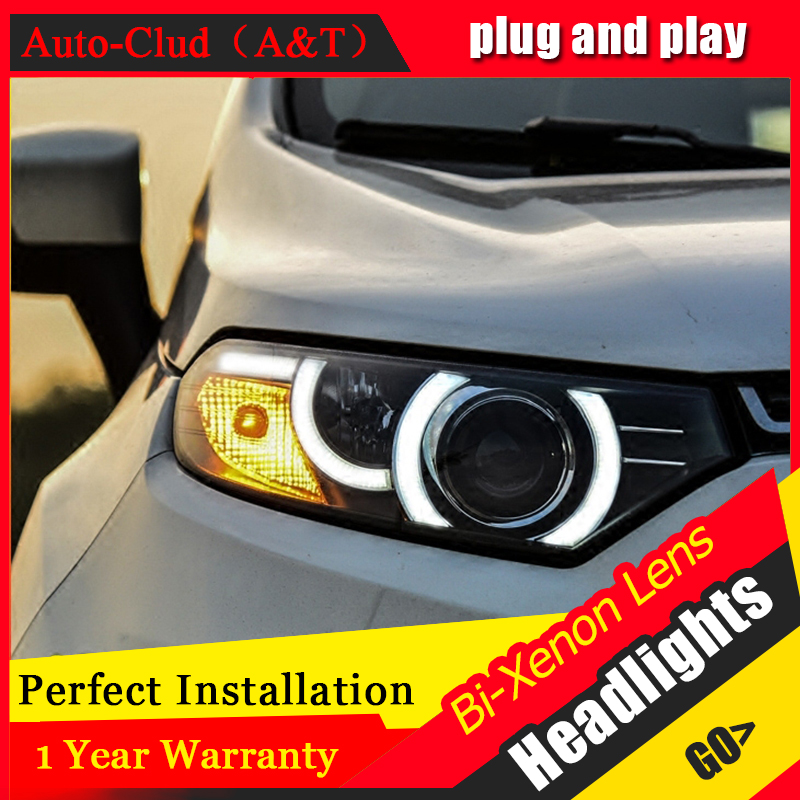 Car Styling For Ford EcoSport led headlights For EcoSport head lamp Angel eye led front light Bi-Xenon Lens xenon HID KIT car styling for chevrolet trax led headlights for trax head lamp angel eye led front light bi xenon lens xenon hid kit