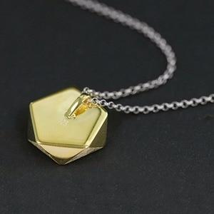 Image 3 - Colgante de joyería fina con diseño de ángulos geométricos para mujer, Lotus Fun, estilo norte europeo, sin collar, Plata de Ley 925 auténtica