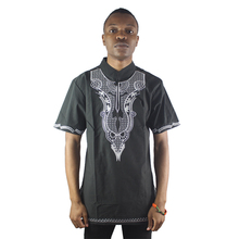 Africa Embroidered Men`s African Ethnic Tops Short Sleeved Classy Tunic Shirts for Wedding Wearing