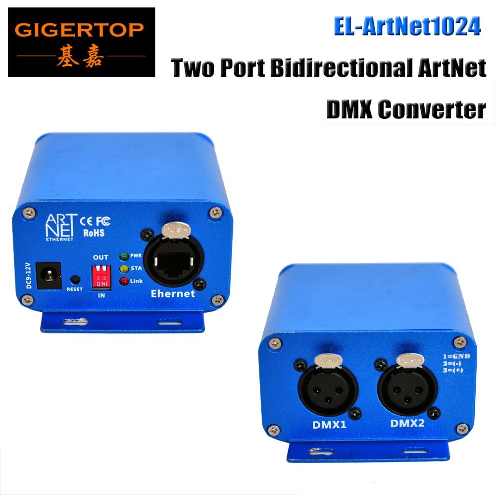 TIPTOP EL ArtNet1024 Two Port Bidirectional ArtNet DMX Converter Standard DMX512 Output RJ45 Net Connector Sulite