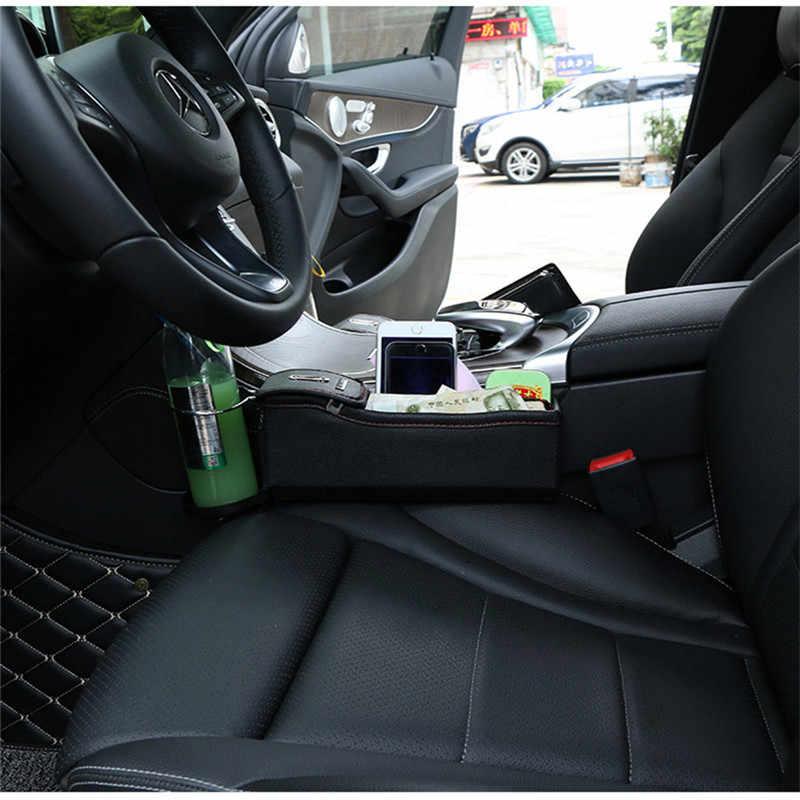 Araba koltuğu saklama çantası Stowing Tidying için telefon paraları sigara tuşları pu deri araba koltuğu yan saklama kutusu çok fonksiyonlu organizatör