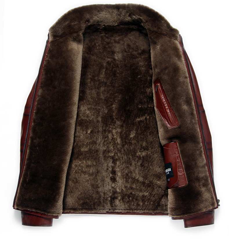 AYUNSUE Men's Genuine Leather Jacket Real Cow Leather Plus Size Cowhide Jackets for Men Natural Lamb Fur Coat L178101 KJ841