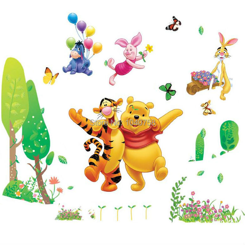 Winnie The Pooh Giant Wall Stickers Part   39: Removable PVC Cartoon Winnie  The Pooh Part 41