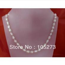 """Wedding Bridal Necklace Earrings Jewelry Set 10x8MM Real White Freshwater Pearl 925 Silver Stud Earring 18"""" Rice Pearl Necklace"""