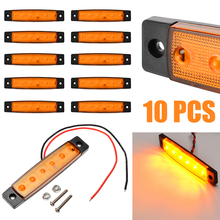 10pcs Amber Car Truck Trailer Lorry Bus Side Marker Indicators Light 12V 6LED Universal