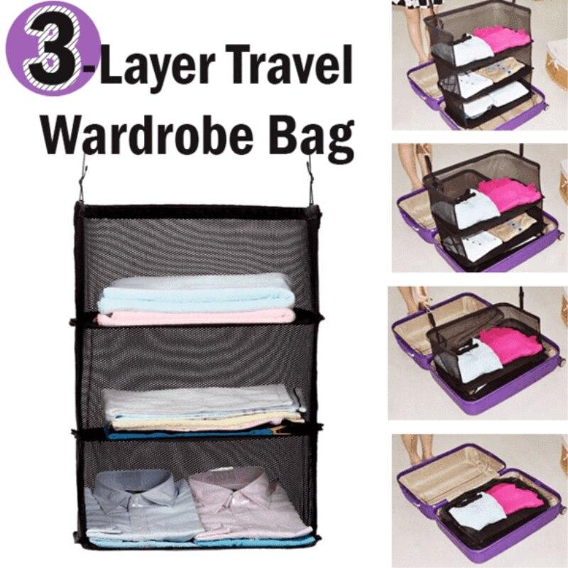 3 schicht Reise Kleiderschrank Tasche-Koffer Regale Reise Multi-funktion Lagerung Tasche