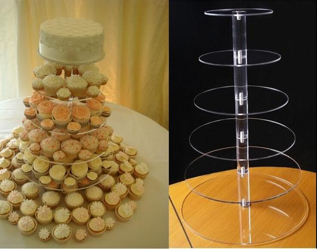 6 Tier Acrylic Round Wedding Cake Stand/ Cupcake Stand Tower ...