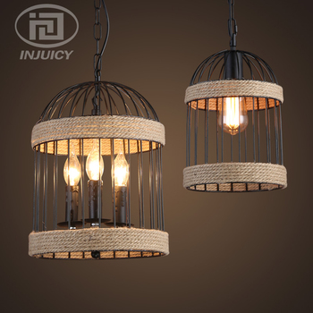 Industrial Wind Rope Hanging Lamp Wrought Iron Birdcage Restaurant Bar Clothing Store Coffee House Retro Pendant Lamp
