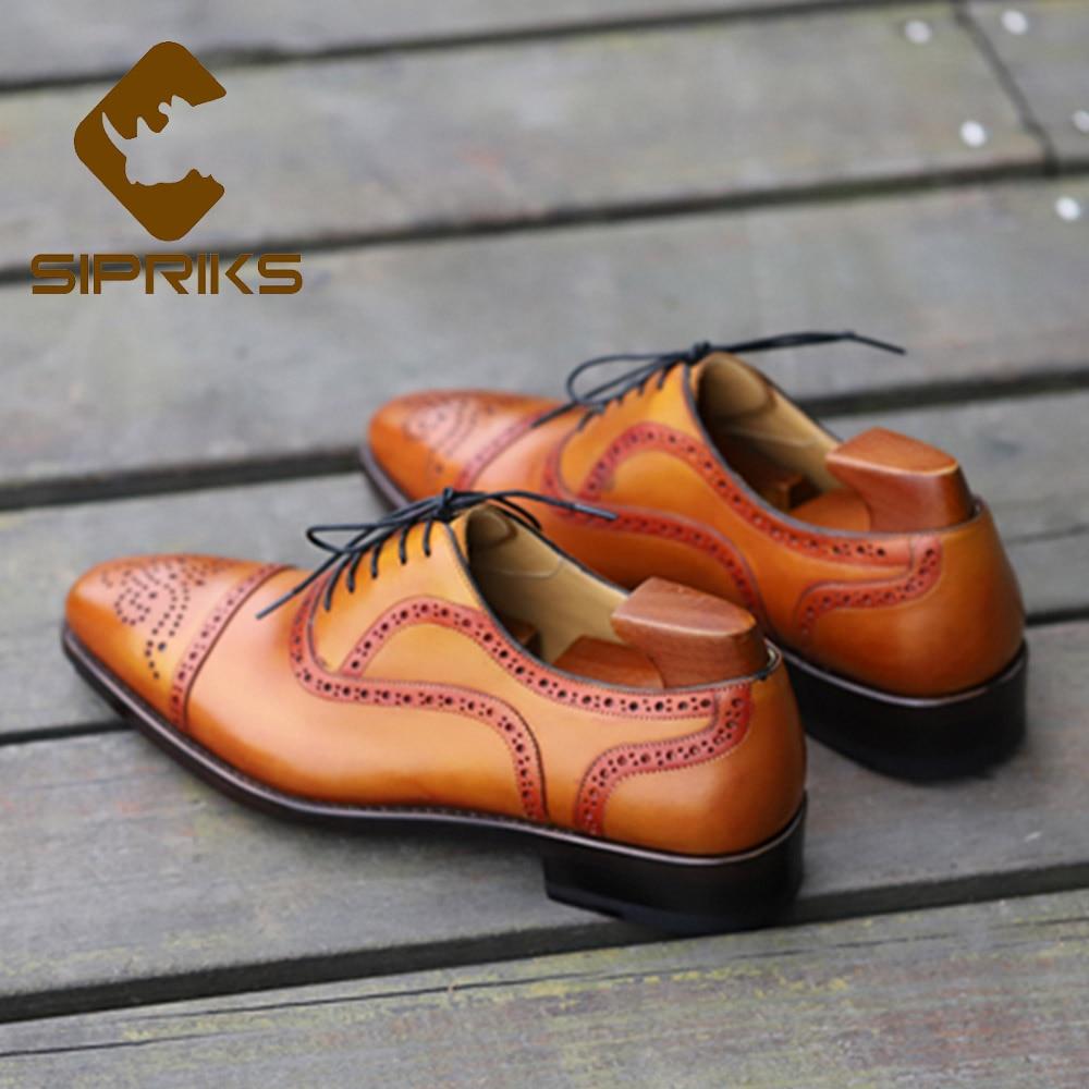 Sipriks อิตาเลี่ยน Handmade Mens Goodyear Welted รองเท้าหนังแท้นำเข้าสีเหลือง Patina สีน้ำตาล Retro Brogue รองเท้าธุรกิจใหม่-ใน รองเท้าทางการ จาก รองเท้า บน   2
