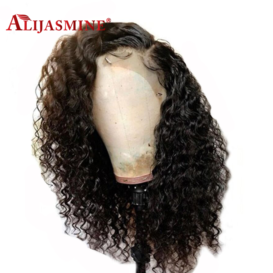 AliJasmine Water Wave Human Hair Wigs With Baby Hair Bleached Knots Malaysian Remy 13 4 Lace