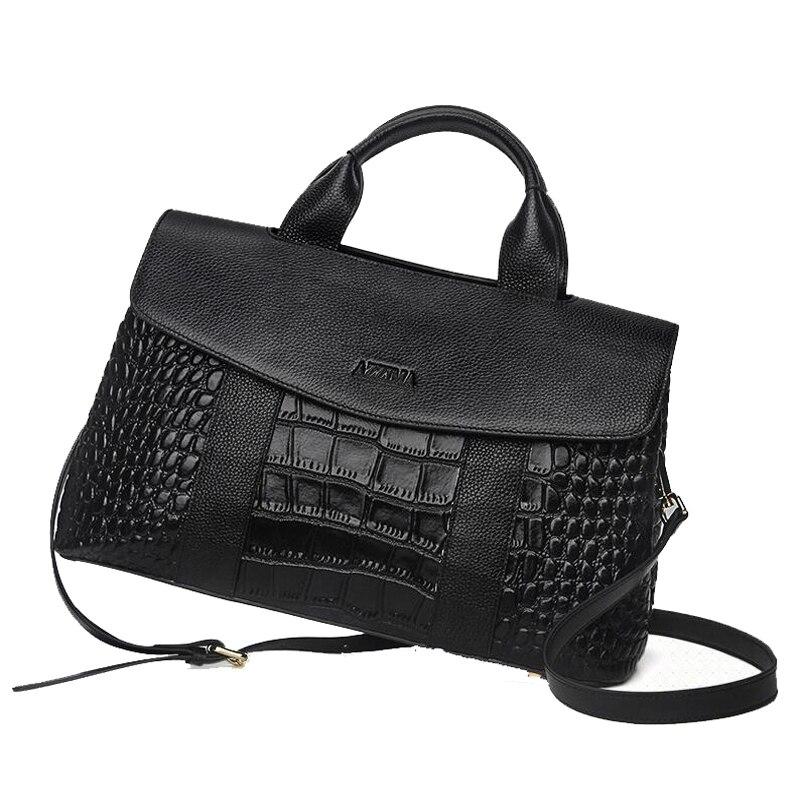 все цены на 2018 Luxury Handbags Women Genuine Bags Designer Bags For Women Fashion Crocodile Leather Tote Bags Handbag Women Famous Brand онлайн