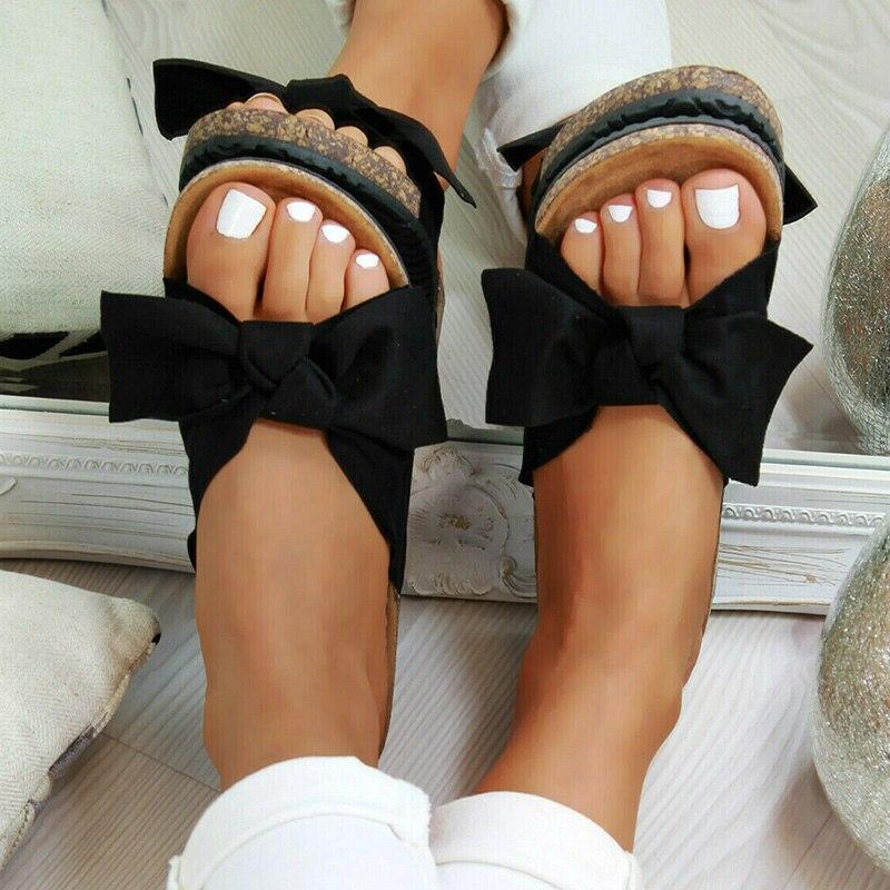 2020 chaussures femme sandales pour femmes chaussures de plage Bow sans lacet gladiateur sandales femmes chaussures d'été sandales plates femme grande taille 7
