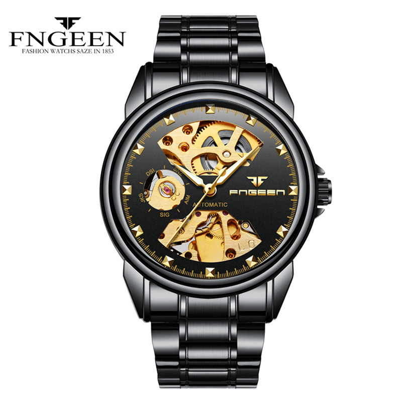 Fngeen Black Automatic Mechanical Watch Mens Watch Top Brand Luxury Fashion Watch Stainless Steel Business watch Man Clock 20 fngeen gold automatic mechanical watch fashion mens watches top brand luxury business watch otomatik saat cube man clock 25