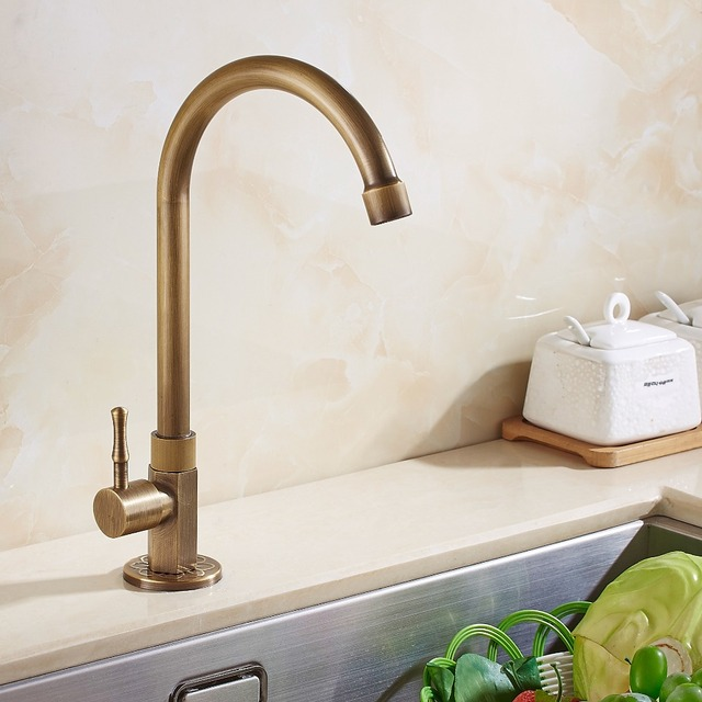 Antique Brass Only Cold Kitchen Faucet Antique Bronze Finish Brass Sink  Faucet Single Handle High Quality