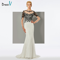 Dressv ivory long evening dress scoop neck sweep train long sleeves mermaid wedding party formal dress trumpet evening dresses