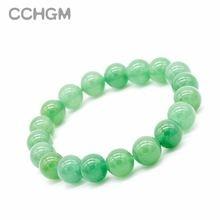 Женский браслет с натуральным зеленым авантюриновым камнем круглые