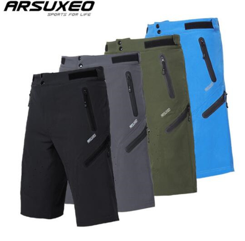 ARSUXEO Mens Outdoor Sports Cycling Shorts Downhill MTB Shorts Mountain Bike Shorts Breathable Water Resistant цена 2017