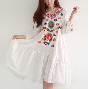 white boho vintage font b style b font hand embroidered tunic font b mexican b font