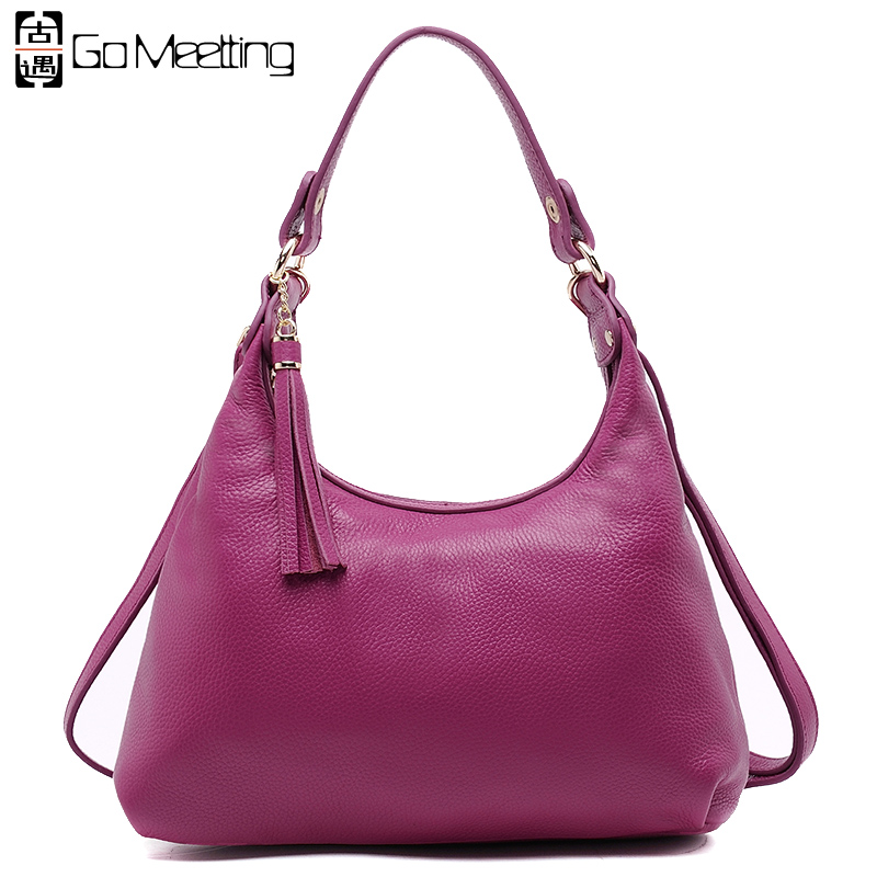 Go Meetting Genuine Leather Women Shoulder Bag High Quality Cow Leather Crossbody Bags Famous Brand Women Hobos Bag 4color WD15