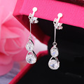 Korean Water drop droplet clip on Earrings long Zircon Earrings ear clip non pierced earrings Korean luxury fashion jewelry