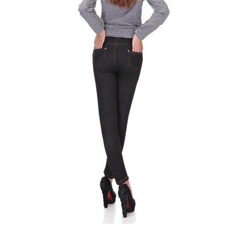 2018 Winter New Women Thicken Legging Fashion Warm Fleeces Inside Denim Pants Footless LeggiJeansngs With Pockets Plus Size 1
