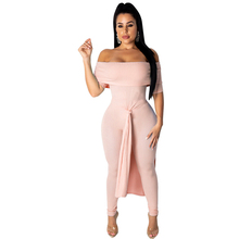 все цены на 2019 autumn new women's sexy jumpsuit word shoulder wrapped chest fashion split striped jumpsuit онлайн