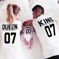New 100 Cotton T Shirt King 07 Queen 07 Prince Princess Letter Print Family Shirts Casual