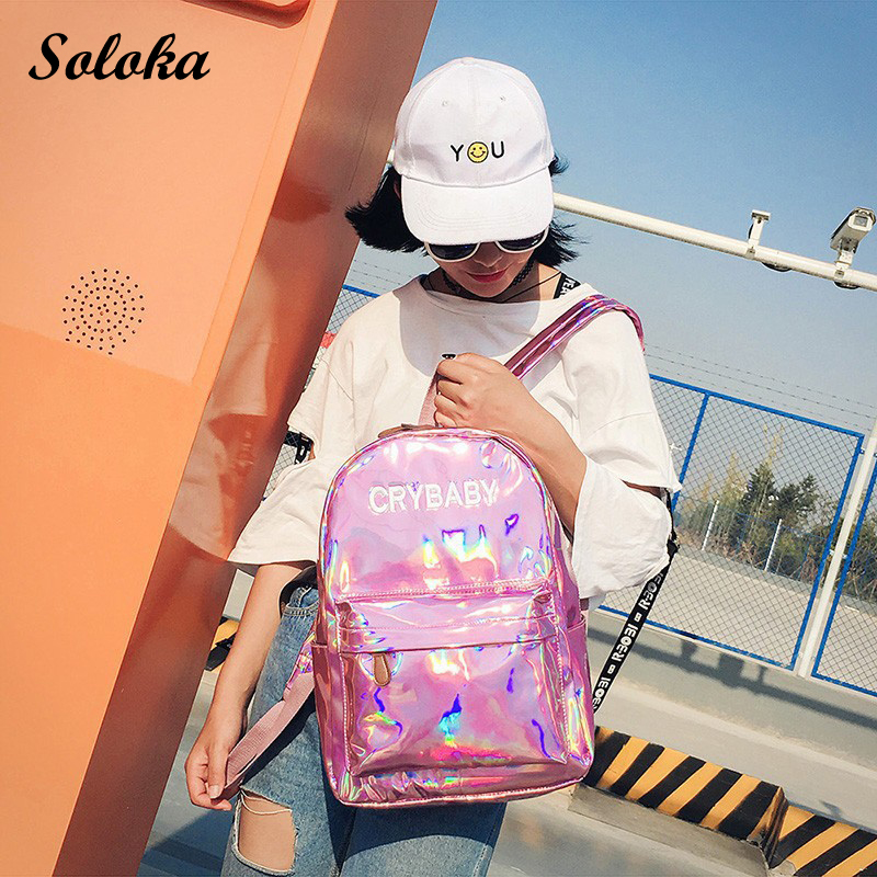 New Laser Backpack Girl School Bag Women Simple Metallic Silver Laser Holographic Bright Leather Backpack Travel Bag Rucksack свитшот bright girl bright girl br029ewndm69
