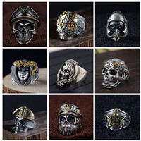 Gothic Punk Men Ring Vintage High Quality Hip Hop Skull Rings For Men Steampunk Jewelry Accessories 2019 Rings Drop Shipping