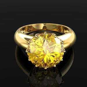 Image 2 - OneRain 100% 925 ayar gümüş düzenlendi mozanit taş düğün nişan sarı altın yüzük yıldönümü takı toptan