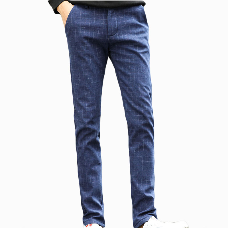 Mens Winter plus velvet thickening warm jeans male business leisure straight Jeans stretch plaid pants ZL806