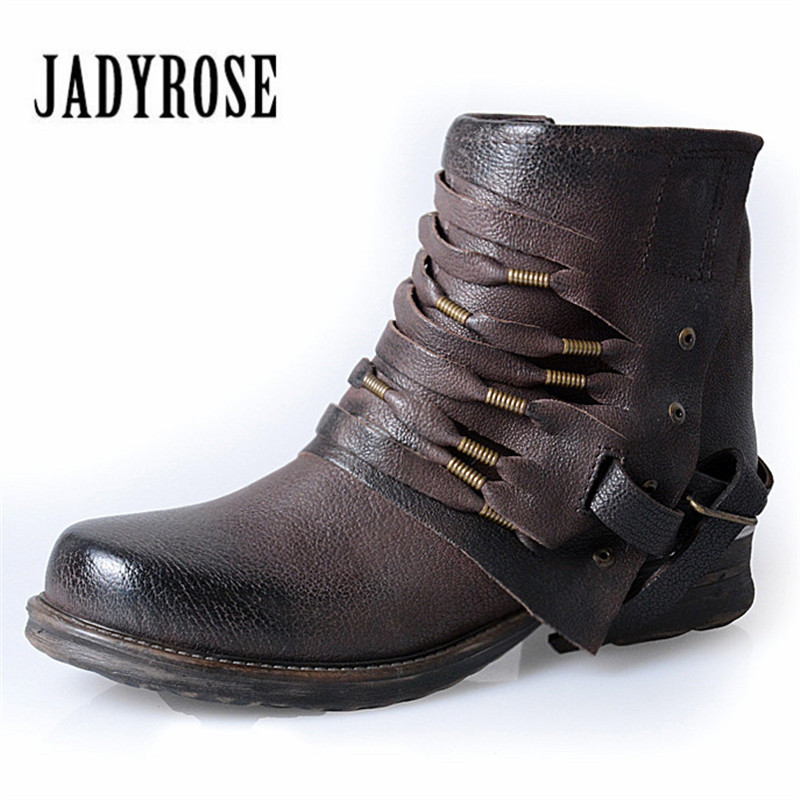 Jady Rose Fashion Women Retro Square Heel Ankle Boots Side Zipper Genuine Leather Short Botas Fringed Flat Martin Boots jady rose vintage flat ankle boots for women side zipper straps genuine leather short botas female platform martin boots