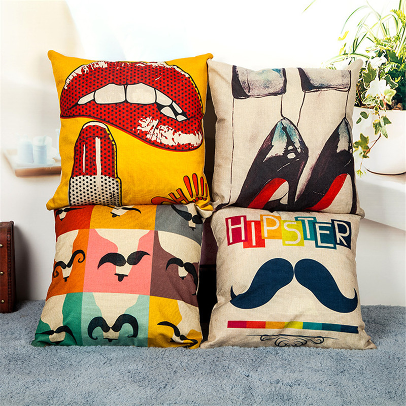 wholesale high quality cover wedding party gift decor home sofa pillowcase Nordic sexy red lips high heels car cushion cover