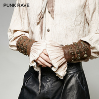 PUNK RAVE Steampunk Heavy Metal Rivet Gloves Gothic PU Leather Fashion Cosplay Armor Wristbands Man Arm Warmers One Pair