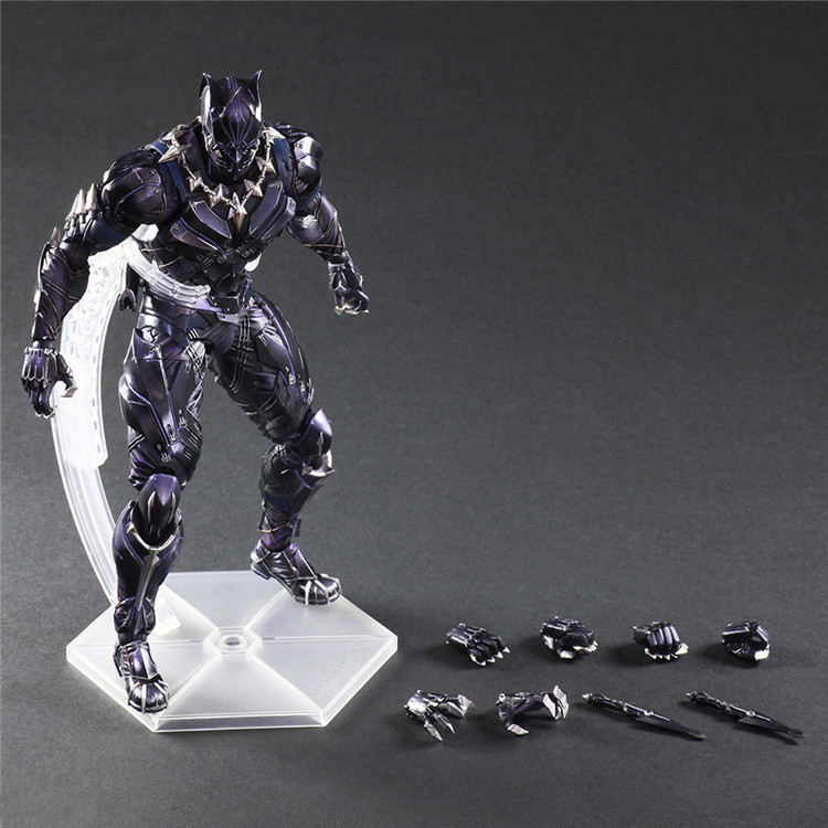 Captain America Black Panther Play Arts Kai Action Figure Civil War Anime Toy Movie Play Arts Kai Black Panther 260mm avengers captain america 3 civil war black panther 1 2 resin bust model panther statue panther half length photo or portrait