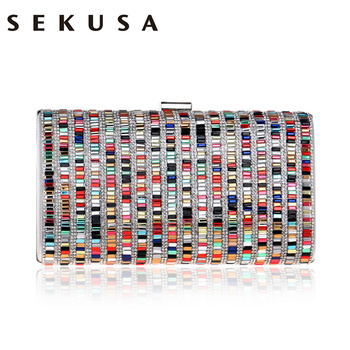 SEKUSA Acrylic Candy Color Clutch Bag Lady Party Wedding Evening Bag Shoulder Chain Purse Handbags For 2017 Women Evening Bags