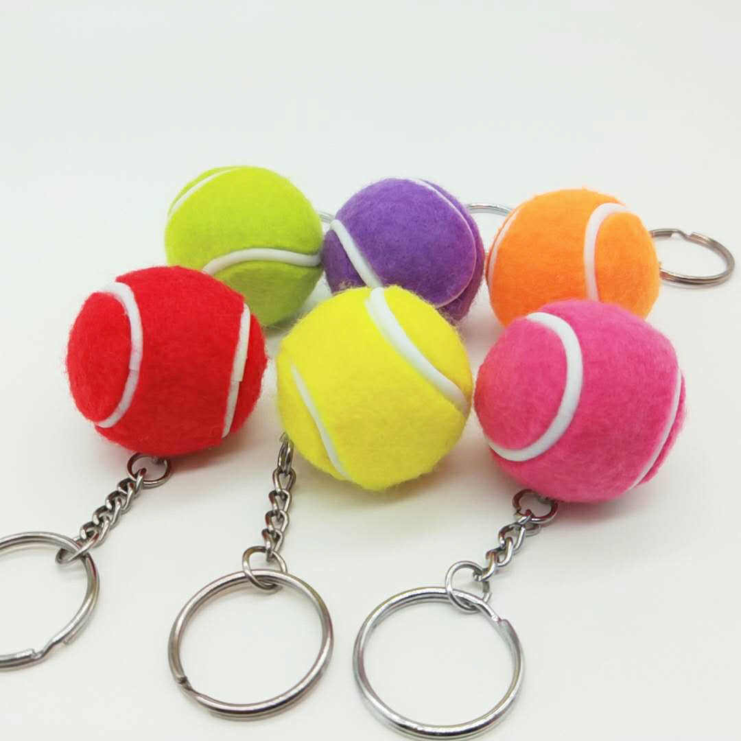 3.5CM Colorful Tennis Keychain Bag Charm  Ball Ornaments Women Men Kids Key Ring Sports Fans Souvenir Birthday Gift Wholesale