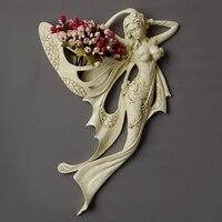 Красивый ангел стены декоративные резиновые ремесла отель дома гостиной стены Висячие вазы русалки Настенный декор R1465