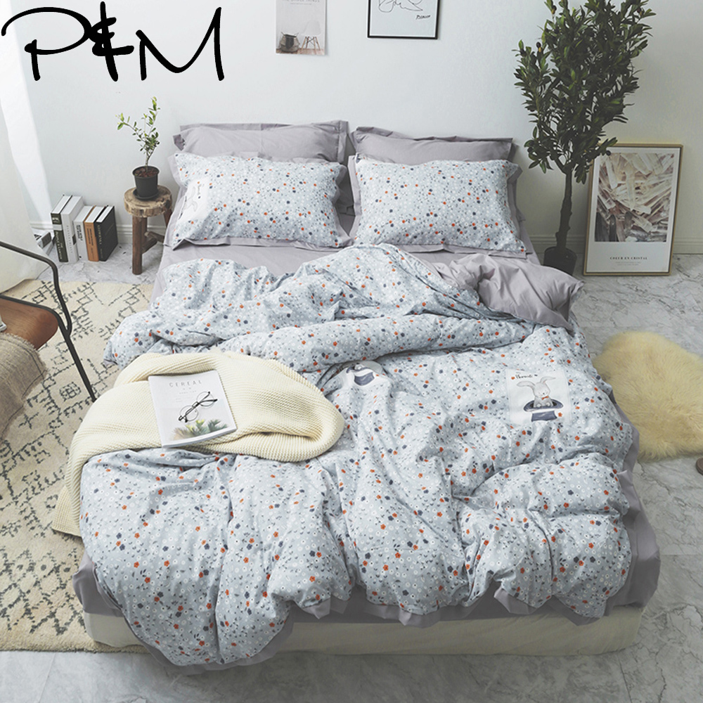 Papa&Mima Small floral print Pastoral style bedding set Cotton Queen size flat sheet pillowcases Wide side duvet cover setsPapa&Mima Small floral print Pastoral style bedding set Cotton Queen size flat sheet pillowcases Wide side duvet cover sets