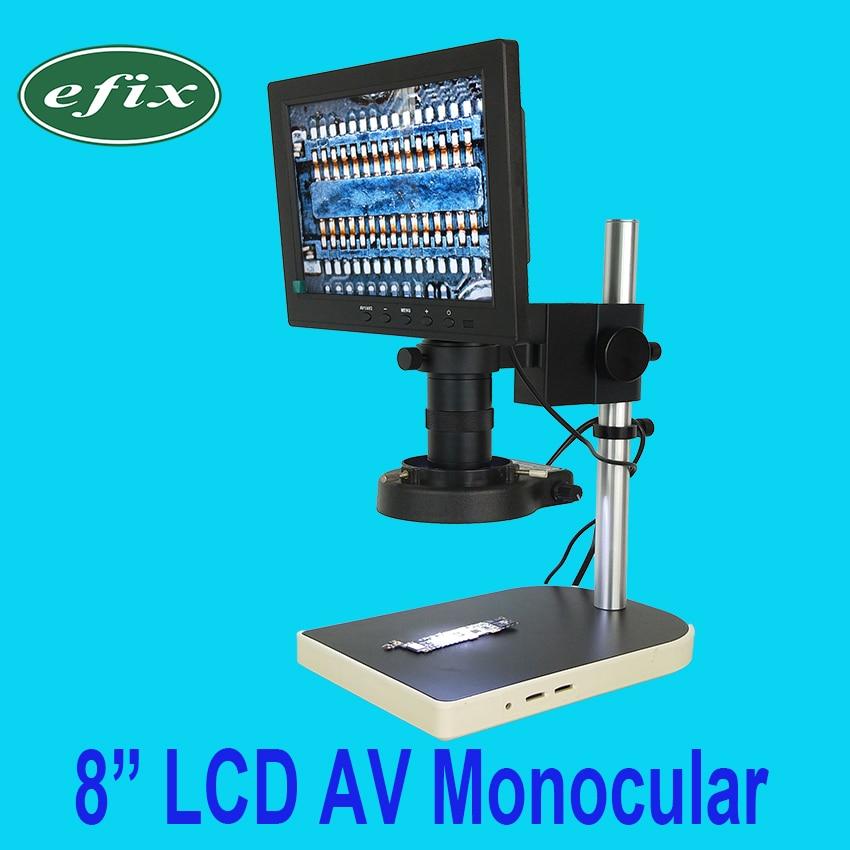 efix 2MP 8 TV LCD Monitor Digital Camera Soldering Microscope Magnifier LED Lamp Repair Mobile Phone PCB BGA IC Chip Tools