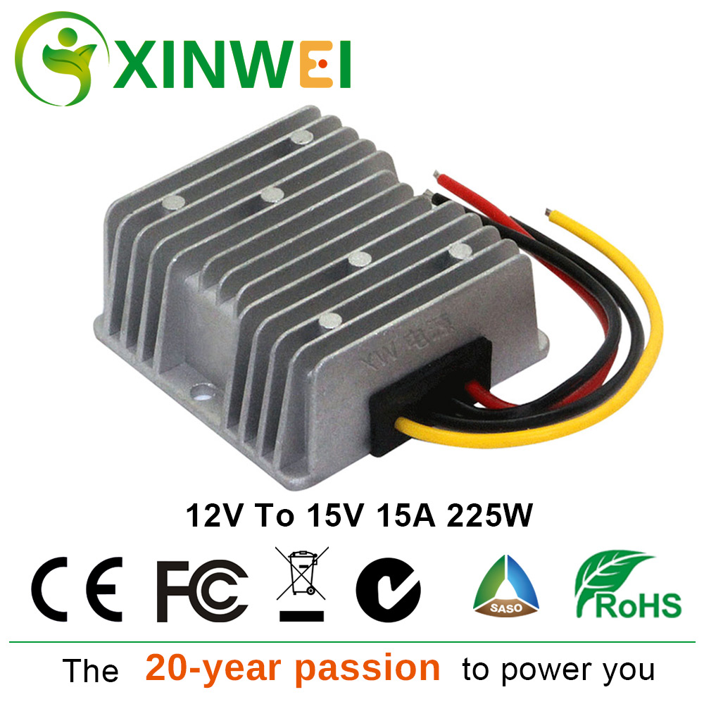 XINWEI DC 12V To DC 15V 15A 225W Step Up Converter Aluminum Power Supply Module Non-isolated BUCK IP67 For Solar Energy &Lights XINWEI DC 12V To DC 15V 15A 225W Step Up Converter Aluminum Power Supply Module Non-isolated BUCK IP67 For Solar Energy &Lights