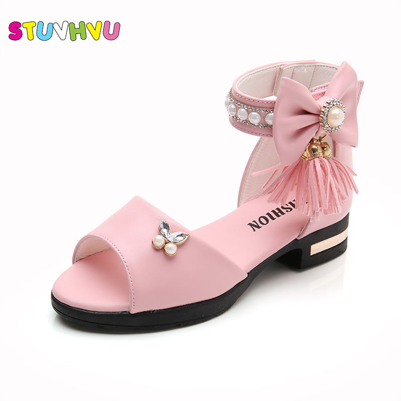 Girls Princess Sandals 2019 Summer Sandals Kids For Party Children's Shoes Pearl Tassel Soft Bottom Korean Roman Size 27-37