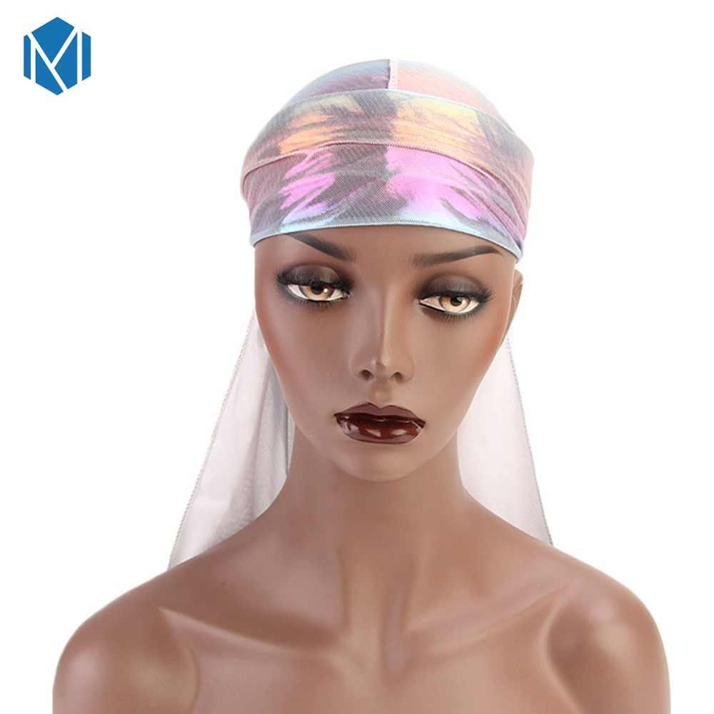 Красочные мужские бандана парики тюрбан Doo Rag головная повязка пиратская шляпа аксессуары для волос мужские блестящие шелковые дураг бандана головные уборы